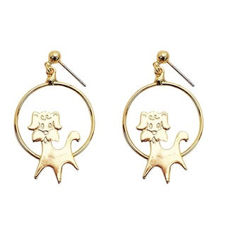 Goldtone Dog Hoop Earrings