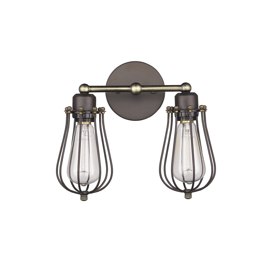 Shop Industrial 2 Light Oil Rubbed Bronze Wall Sconce Overstock 10517950