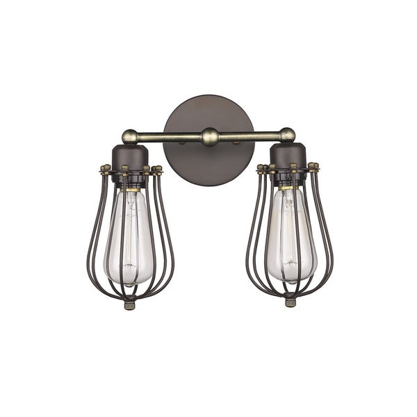 Chloe loft industrial oil rubbed bronze metal 2 light wall sconce chloe loft industrial oil rubbed bronze metal 2 light wall sconce aloadofball Image collections