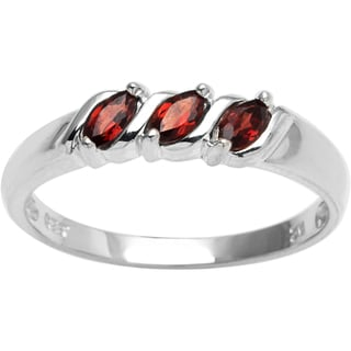 Sterling Silver 3-stone Marquise Birthstone Ring