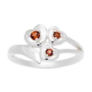 Sterling Silver 3-stone Heart-shaped Birthstone Ring
