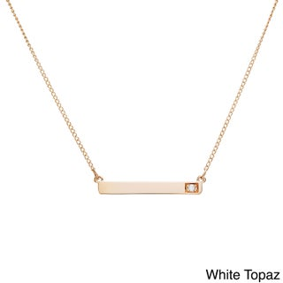 10k Yellow Gold Round Birthstone Bar Necklace (Option: White Topaz, April)
