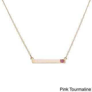 10k Yellow Gold Round Birthstone Bar Necklace
