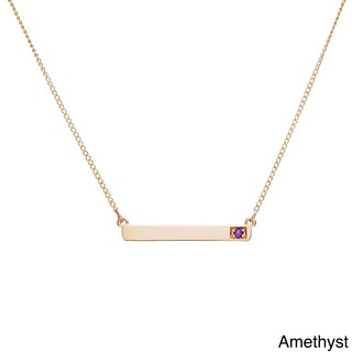 10k Yellow Gold Round Birthstone Bar Necklace