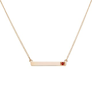10k Yellow Gold Round Birthstone Bar Necklace (More options available)