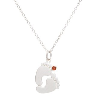 Sterling Silver Round Birthstone Footprint Necklace