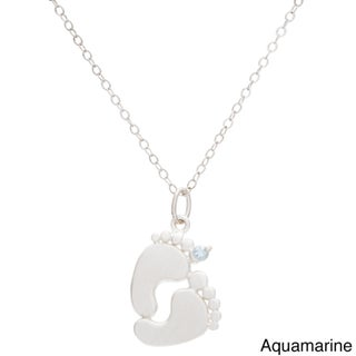 Sterling Silver Round Birthstone Footprint Necklace (More options available)