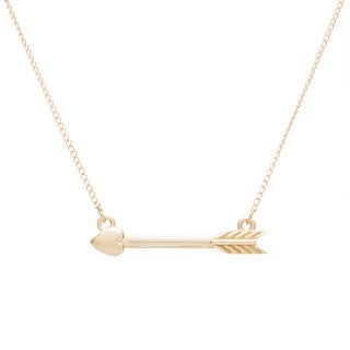 10k Yellow Gold Heart and Arrow Necklace