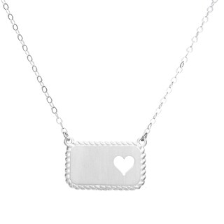 Sterling Silver Rope Design Heart Necklace - White