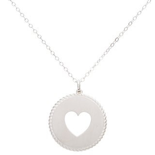 Sterling Silver Circle Rope Design Heart Necklace