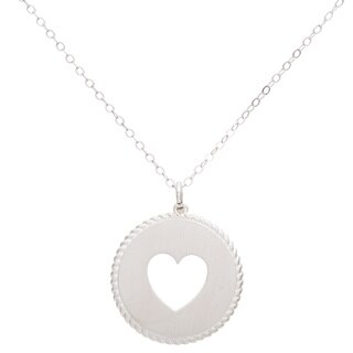Sterling Silver Circle Rope Design Heart Necklace - White
