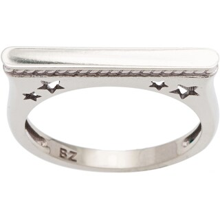 10k White Gold Star Rope Ring