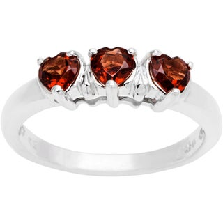 Sterling Silver 3-stone Heart Birthstone Ring