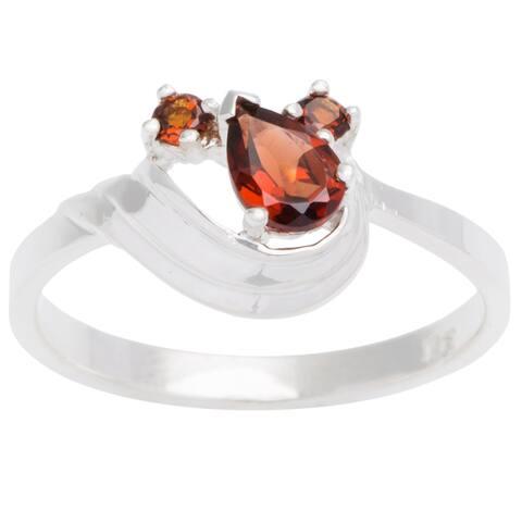Sterling Silver 3-stone Birthstone Ring