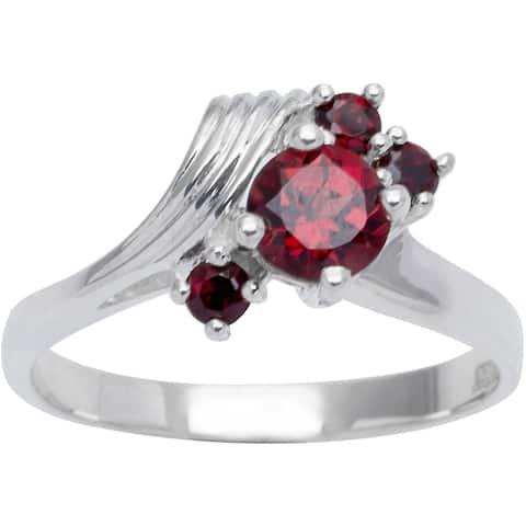 Sterling Silver 4-stone Birthstone Ring