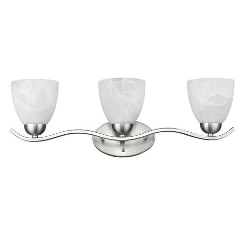Transitional 3-light Brushed Nickel Bath/Vanity Fixture (As Is Item)