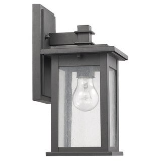 Chloe Transitional Black Aluminum Glass 1-light Outdoor Wall Lantern