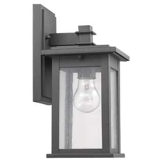 Buy outdoor wall lighting online at overstock our best outdoor chloe transitional black aluminum glass 1 light outdoor wall lantern aloadofball Images