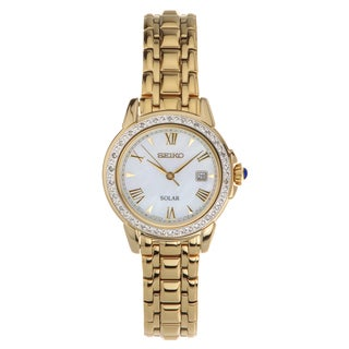 Seiko Women's SUT172 Solar Diamond Cabachon Gold-tone Bracelet Watch