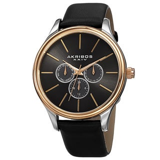 Akribos XXIV Men's Quartz Multifunction Leather Gold-Tone Strap Watch