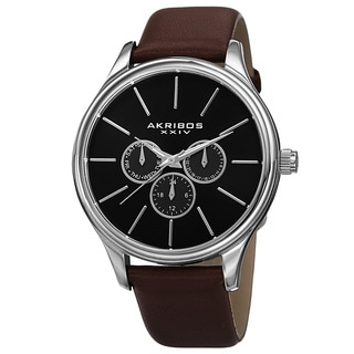 Akribos XXIV Men's Quartz Multifunction Leather Brown Strap Watch