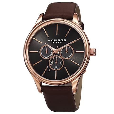 Akribos XXIV Men's Quartz Multifunction Leather Rose-Tone Strap Watch - Gold