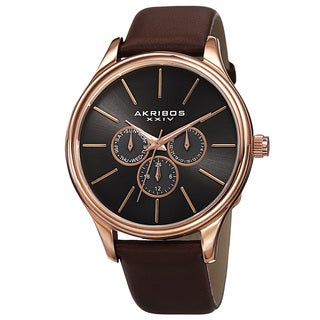 Akribos XXIV Men's Quartz Multifunction Leather Rose-Tone Strap Watch
