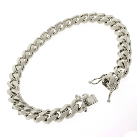"""Sterling Silver 8.5mm Miami Cuban Curb Link Thick Solid 925 Rhodium Bracelet Chain 9"""""""