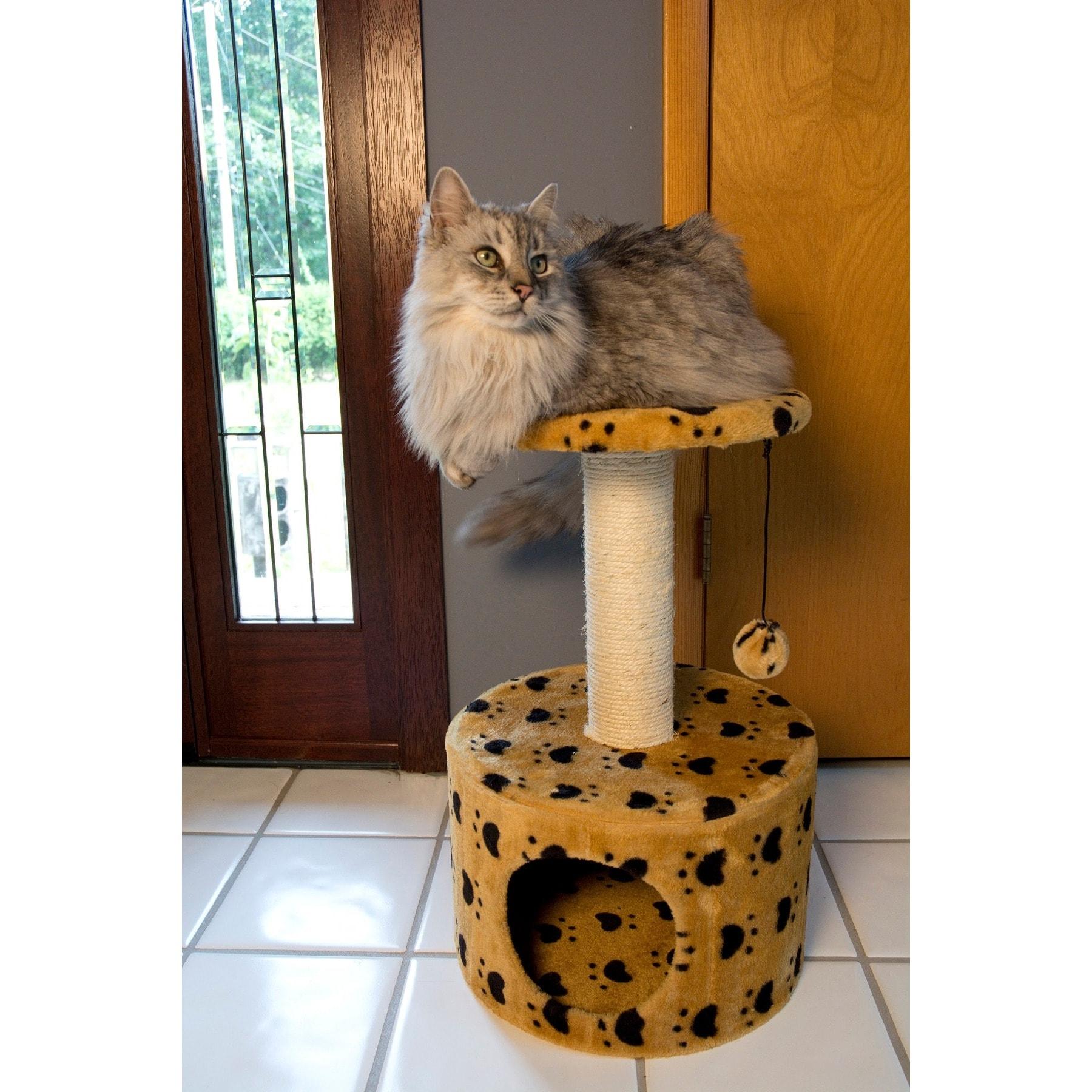 Iconic Pet Paw Print Sisal Cat Scratching Condo (Tan)