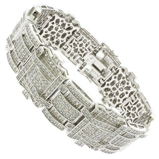 Rhodium-plated Sterling Silver Men's Cubic Zirconia 8-inch Link Bracelet