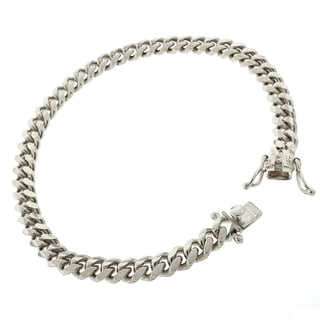 Rhodium-plated Sterling Silver 6.5mm Solid Miami Cuban Link Bracelet 8.5 inches