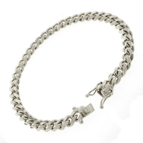 """Sterling Silver 7mm Miami Cuban Curb Link Thick Solid 925 Rhodium Bracelet Chain 8.5"""""""