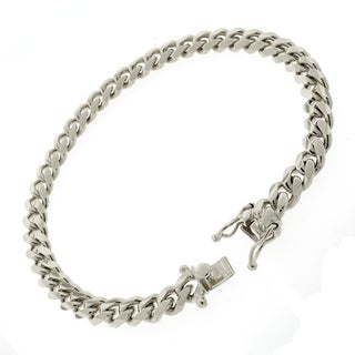 Rhodium-plated Sterling Silver 7mm Solid Miami Cuban Link Bracelet 8.5 inches