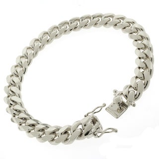 Rhodium-plated Sterling Silver 10mm Solid Miami Cuban Link 9-inch Bracelet