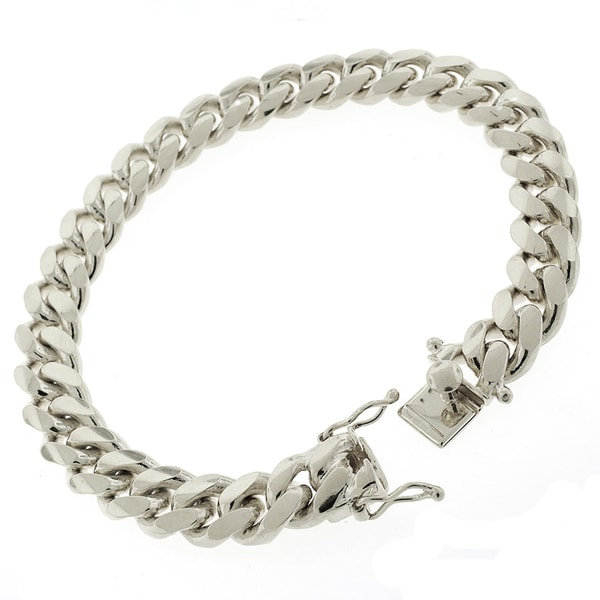 b66eb430e180b Sterling Silver 10.5mm Miami Cuban Curb Link Thick Solid 925 Rhodium  Bracelet Chain 9
