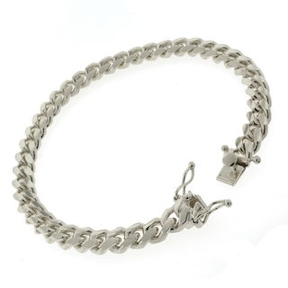 Rhodium-plated Sterling Silver 7.5mm Solid Miami Cuban Link Bracelet 8.5 inches