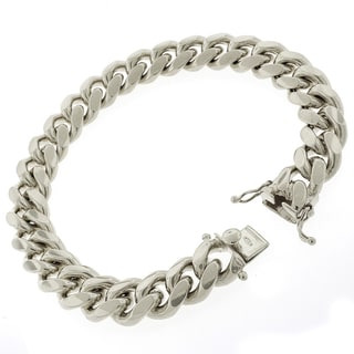 Rhodium-plated Sterling Silver 12mm Solid Miami Cuban Link Bracelet 9 inches