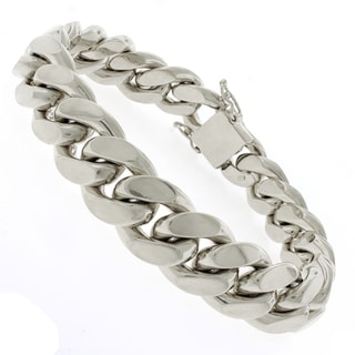 Rhodium-plated Sterling Silver 14.5mm Solid Miami Cuban Link Bracelet 9 inches