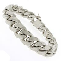 """Sterling Silver 14.5mm Miami Cuban Curb Link Thick Solid 925 Rhodium Bracelet Chain 9"""""""