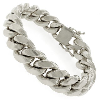 Rhodium-plated Sterling Silver 15.5mm Solid Miami Cuban Link Bracelet 9 inches