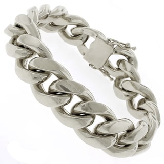 Rhodium-plated Sterling Silver 17.5mm Solid Miami Cuban Link Bracelet 9 inches