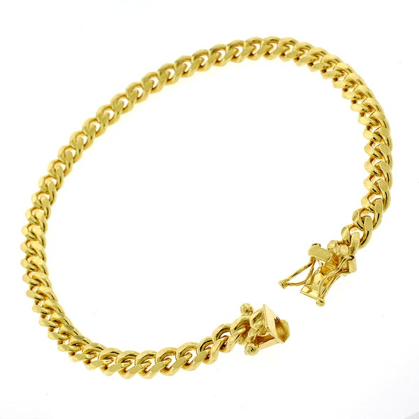 18f2be7f62c Shop Authentic Solid Sterling Silver 5mm Miami Cuban Curb Link .925 Yellow  Gold Thick Bracelet Chain 8.5