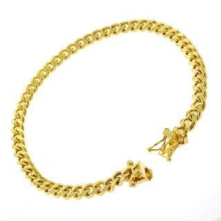 Gold-plated Sterling Silver 5mm x 8.5-inch Solid Miami Cuban Link Bracelet