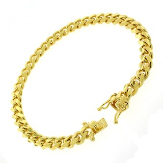 """Sterling Silver 7mm Miami Cuban Curb Link Thick Solid 925 Yellow Gold Plated Bracelet Chain 8.5"""""""