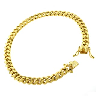 Gold-plated Sterling Silver 6.5mm Solid Miami Cuban Link Bracelet 8.5 inches