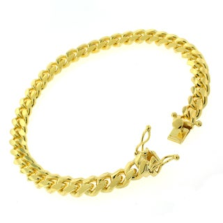 Gold-plated Sterling Silver 7.5mm Solid Miami Cuban Link Bracelet 8.5 inches