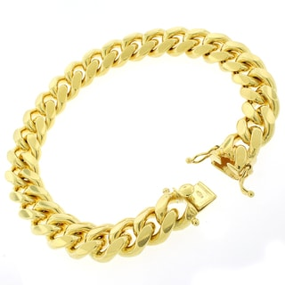 Gold-plated Sterling Silver 12mm Solid Miami Cuban Link Bracelet 9 inches