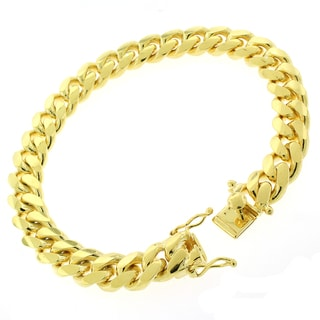 Gold-plated Sterling Silver 10 mm Solid Miami Cuban Link 9-inch Bracelet