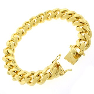 Gold-plated Sterling Silver 14mm Solid Miami Cuban Link Bracelet 9 inches