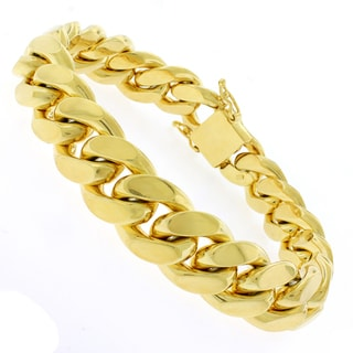 Gold-plated Sterling Silver 14.5mm Solid Miami Cuban Link Bracelet 9 inches